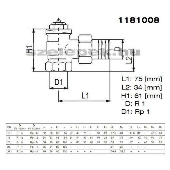 """OVENTROP DN25 (1"""") """"A"""" tip. termosztatikus fűtőtestszelep, előbeállítás nélkül, sarok kivitel, PN10, M30x1,5 mm (1181008)"""