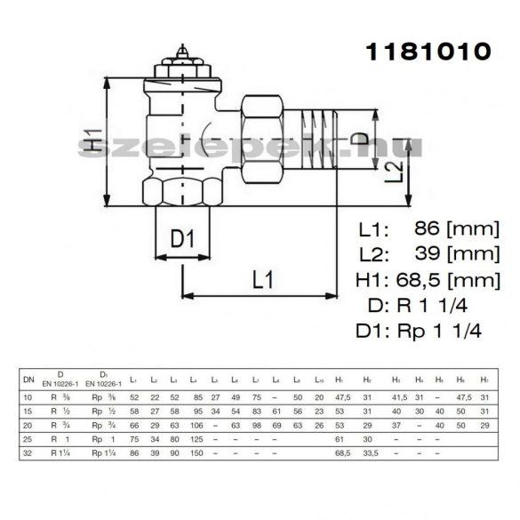 """OVENTROP DN32 (5/4"""") """"A"""" tip. termosztatikus fűtőtestszelep, előbeállítás nélkül, sarok kivitelPN10, M30x1,5 mm (1181010)"""