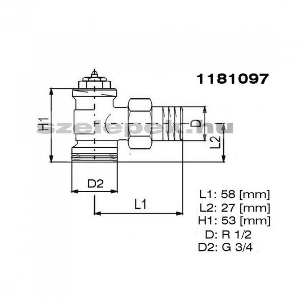 """OVENTROP DN15 (1/2"""") """"A"""" tip. termosztatikus fűtőtestszelep, PN10, sarok, külsőmenetes kivitel, M30x1,5 mm (1181097)"""