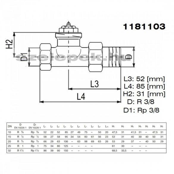 """OVENTROP DN10 (3/8""""), """"A"""" tip. termosztatikus fűtőtestszelep, PN10, egyenes kivitel, M30x1,5 mm (1181103)"""