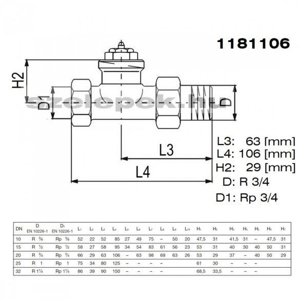 """OVENTROP DN20 (3/4"""") """"A"""" tip. termosztatikus fűtőtestszelep, PN10, egyenes kivitel, M30x1,5 mm (1181106)"""