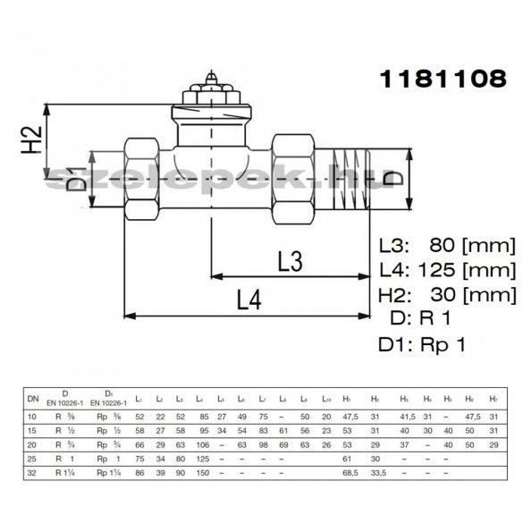 """OVENTROP DN25 (1"""") """"A"""" tip. termosztatikus fűtőtestszelep, PN10, egyenes kivitel, M30x1,5 mm (1181108)"""