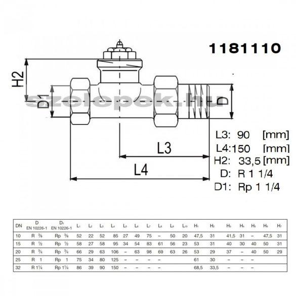 """OVENTROP DN32 (5/4"""") """"A"""" tip. termosztatikus fűtőtestszelep, PN10, egyenes kivitel, M30x1,5 mm (1181110)"""