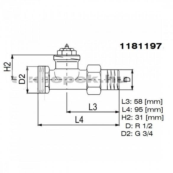 """OVENTROP DN15 (1/2"""") """"A"""" tip. termosztatikus fűtőtestszelep, PN10, egyenes, külsőmenetes kivitel, M30x1,5 mm (1181197)"""