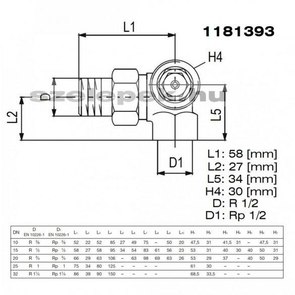"""OVENTROP DN15 (1/2"""") """"A"""" tip. termosztatikus fűtőtestszelep, PN10, térsarok, jobbos kivitel, M30x1,5 mm (1181393)"""