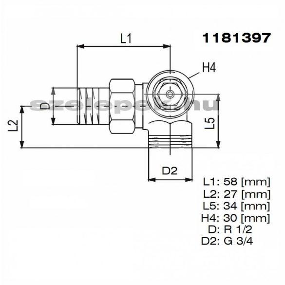 """OVENTROP DN15 (1/2"""") """"A"""" tip. termosztatikus fűtőtestszelep, PN10,  térsarok, jobbos, külsőmenetes kivitel, M30x1,5 mm (1181397)"""