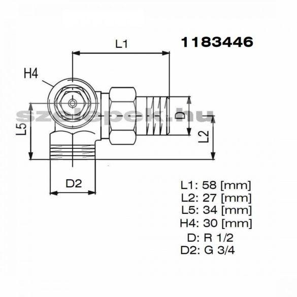 """OVENTROP DN15 (1/2"""") """"AV 9"""" tip. termosztatikus fűtőtestszelep, térsarok balos, külsőmenetes kivitel, PN10, M30x1,5 mm (1183446)"""