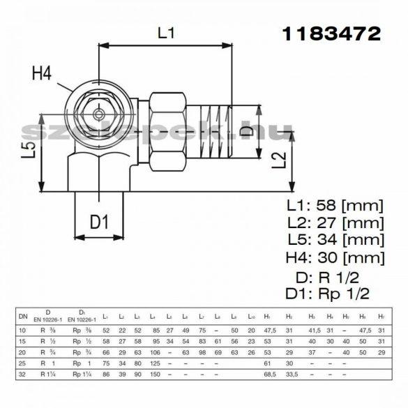 """OVENTROP DN15 (1/2"""") """"AV 9"""" tip. előbeállítható termosztatikus fűtőtestszelep, PN10, térsarok balos, M30x1,5 mm (1183472)"""