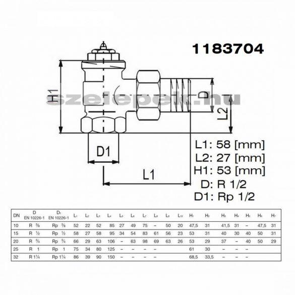 """OVENTROP DN15 (1/2"""") """"AV"""" 9 tip. előbeállítható termosztatikus fűtőtestszelep, PN10, sarok, M30x1,5 mm (1183704)"""