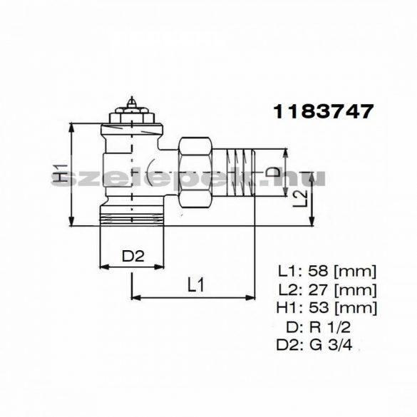 """OVENTROP DN15 (1/2"""") """"AV 9"""" tip. előbeállítható termosztatikus fűtőtestszelep, PN10,  sarok, külsőmenetes, M30x1,5 mm (1183747)"""