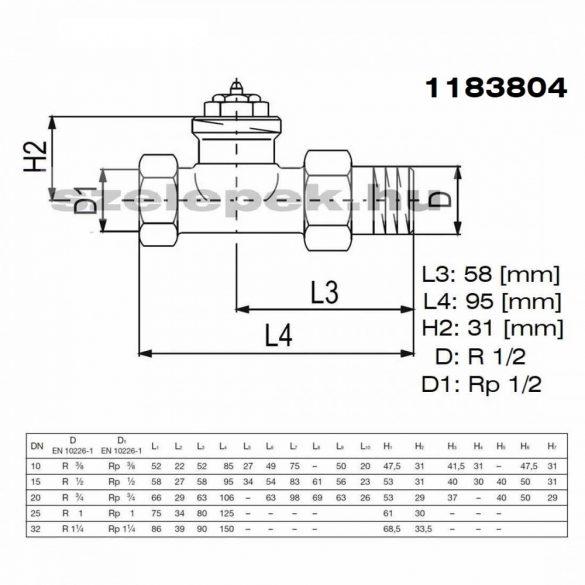 """OVENTROP DN15 (1/2"""") """"AV 9"""" tip. előbeállítható termosztatikus fűtőtestszelep, PN10, egyenes, M30x1,5 mm (1183804)"""