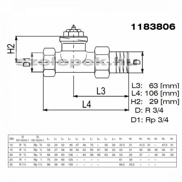 """OVENTROP DN20 (3/4"""") """"AV 9"""" tip. előbeállítható termosztatikus fűtőtestszelep, PN10, egyenes, M30x1,5 mm (1183806)"""