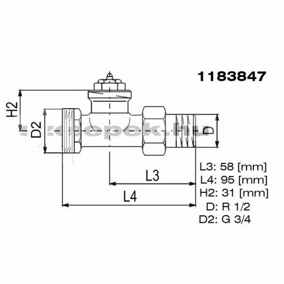 """OVENTROP DN15 (1/2"""") """"AV 9"""" tip. előbeállítható termosztatikus fűtőtestszelep, PN10,  egyenes, külsőmenetes, M30x1,5 mm (1183847)"""