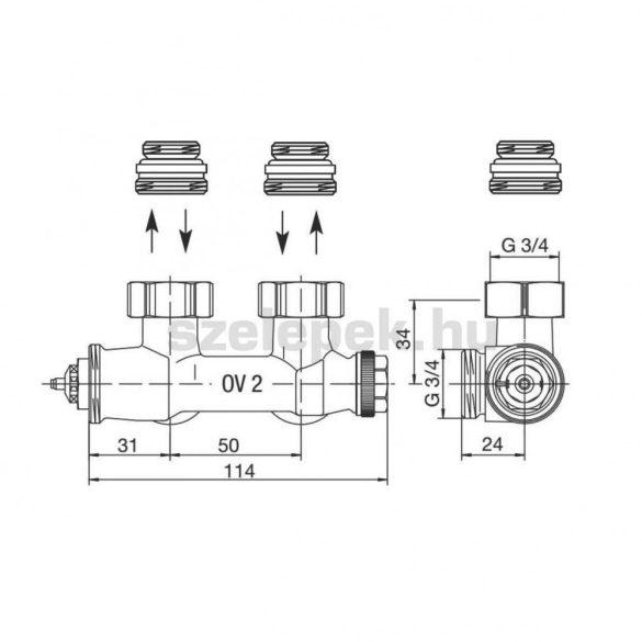 """OVENTROP """"Multiblock T"""" multifunkciós termosztatikus fűtőtestszelep, sarok kivitelben (1184084)"""