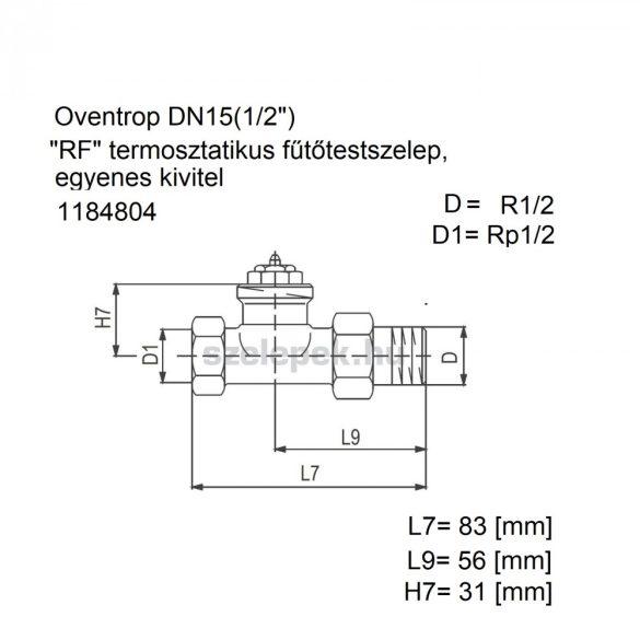 """OVENTROP DN15 (1/2"""") """"RF"""" tip. termosztatikus fűtőtestszelep, PN10, egyenes kivitel, M30x1,5 mm (1184804)"""