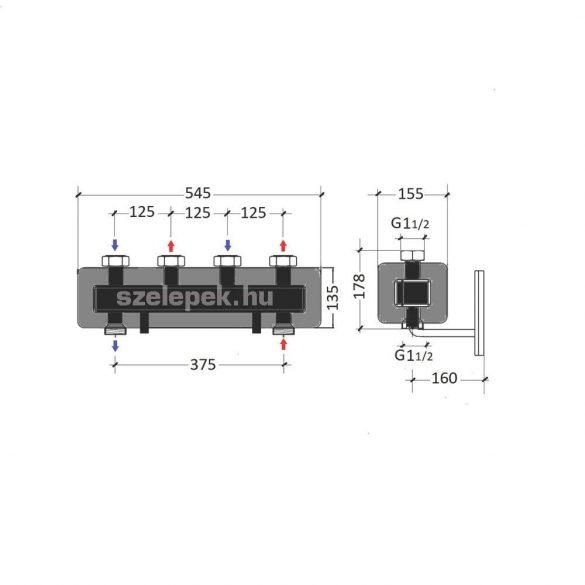 """OVENTROP DN25 """"Regumat"""" moduláris osztó-gyűjtő acélból, 2 db Regumat modulhoz (1351582)"""