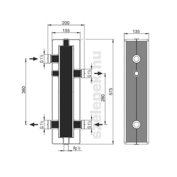 OVENTROP DN25 hidraulikus váltó, acélból, hőszigeteléssel, tartószerkezettel (1351590)