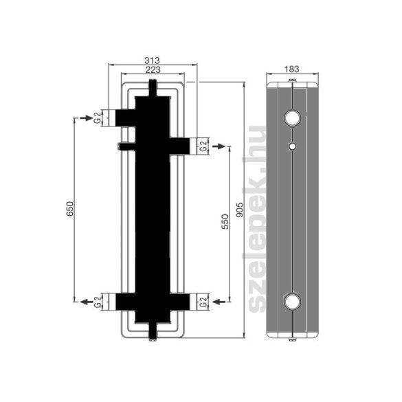 OVENTROP DN32 hidraulikus váltó, acélból, hőszigeteléssel, tartószerkezettel (1351591)