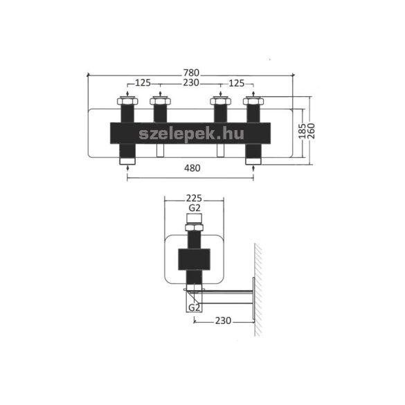 """OVENTROP DN32 """"Regumat"""" moduláris osztó-gyűjtő acélból, 2 db Regumat modulhoz (1351672)"""