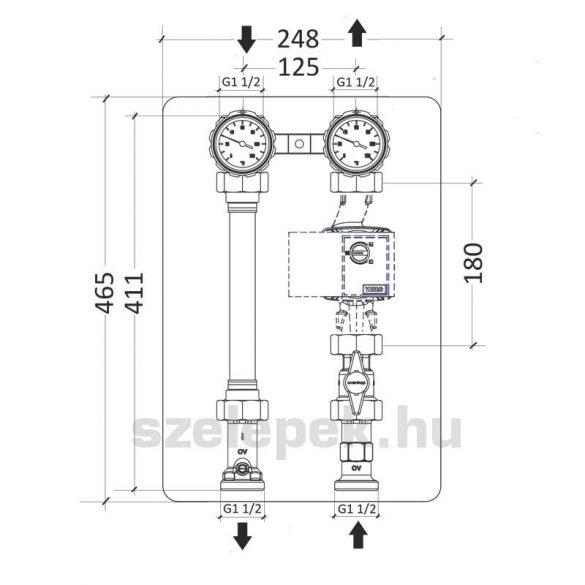 """OVENTROP DN25 """"Regumat S-180"""" fűtővíz keringető modul, PN10, szivattyú nélkül szállítva (1357070)"""