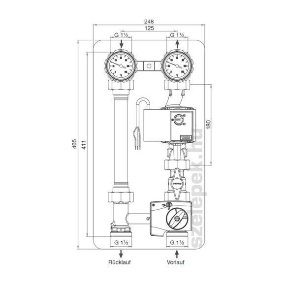 """OVENTROP DN25 """"Regumat M3-180"""" fűtővíz keringető modul, PN10, háromjáratú keverőszeleppel, szivattyú nélkül szállítva (1357270)"""