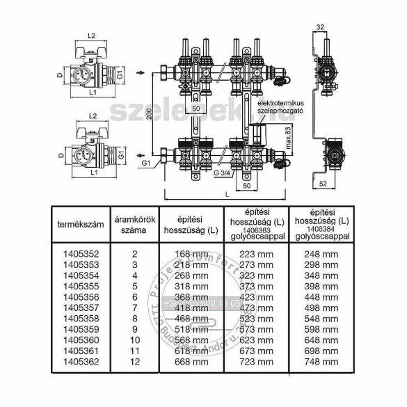 """OVENTROP """"Multidis SF"""" 9 körös nemesacél osztó-gyűjtő, PN6, DN1"""", átfolyásmérőkkel (1405359)"""