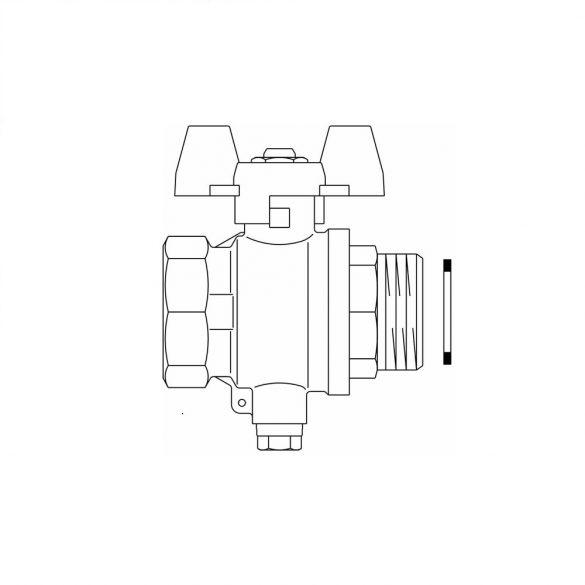 Golyóscsap DN25, piros fogantyúval, M10x1,0 mm-es foglalattal hőmérsékletérzékelő bekötéséhez (1406708)