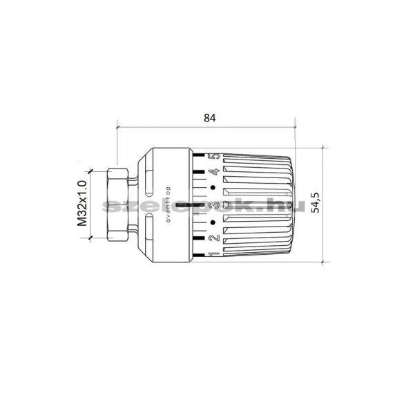 """OVENTROP """"Uni LI"""" termofej, ISTA  márkajelű radiátorszelepekhez (1985-2010), M32x1,0 [mm], fehér kivitel (1616200)"""