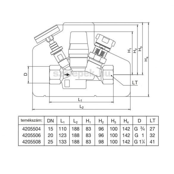 """OVENTROP """"Aquastrom T plus"""" beszabályozó- és szabályozószelep cirkulációs vezetékeihez, PN16, DN15, belsőmenetes kivitelben (4205504)"""