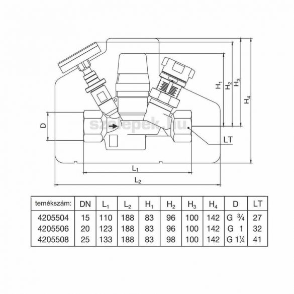 """OVENTROP """"Aquastrom T plus"""" beszabályozó- és szabályozószelep cirkulációs vezetékeihez, PN16, DN20, belsőmenetes kivitelben (4205506)"""