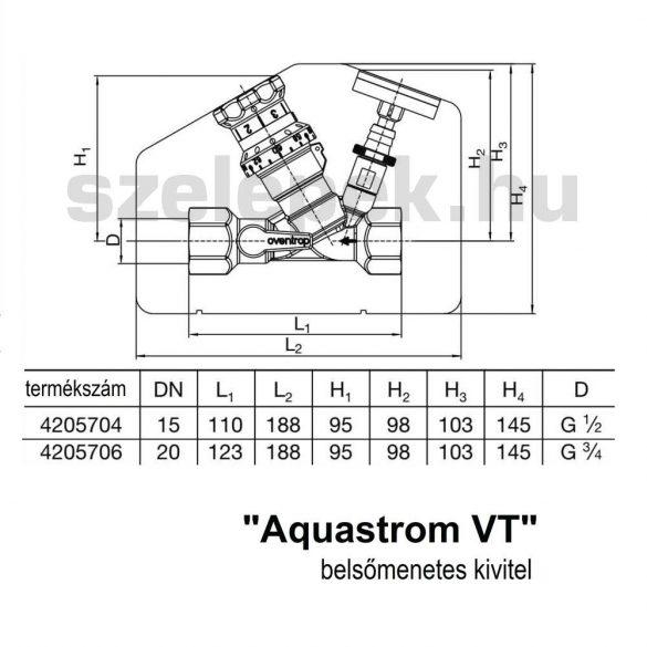 """OVENTROP DN15 """"Aquastrom VT"""" beszabályozó- és szabályozószelep cirkulációs vezetékekhez, PN16, 50 - 65 °C, belsőmenetes kivitelben (4205704)"""