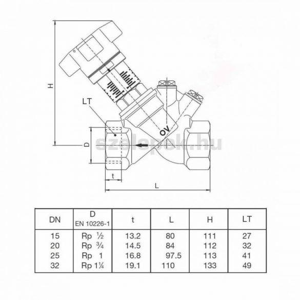 """OVENTROP """"Aquastrom C"""" beszabályozó szelep cirkulációs vezetékekhez, PN16, DN32, belsőmenetes kivitelben (4208158)"""