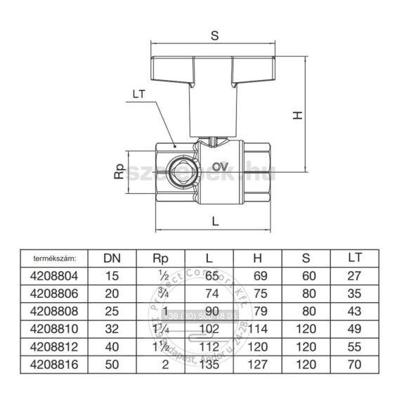 """OVENTROP DN25 """"Optibal TW"""" PN10, golyóscsap ivóvízre, belsőmenetes kivitelben (4208808)"""