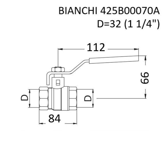 """BIANCHI  DN32 (5/4"""") golyóscsap, PN25, 0 … +110 [°C], belsőmenetes kivitelben, piros acélkaros fogantyúval (425B00070A)"""
