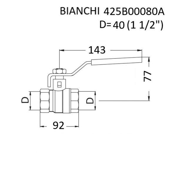 """BIANCHI  DN40 (6/4"""") golyóscsap, PN25, 0 … +110 [°C], belsőmenetes kivitelben, piros acélkaros fogantyúval (425B00080A)"""