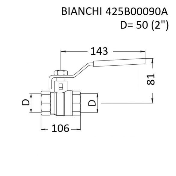 """BIANCHI DN50 (2"""") golyóscsap, PN25, 0 … +110 [°C], belsőmenetes kivitelben, piros acélkaros fogantyúval (425B00090A)"""