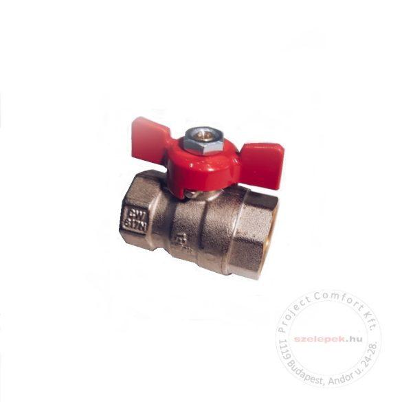 """BIANCHI DN15 (1/2"""") golyóscsap, P25, 0 ... +110 [°C], piros alumínium szárnyas fogantyúval, belsőmenetes (BB) kivitelben (435B00040F)"""