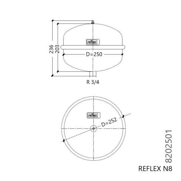 """REFLEX """"N 8"""" típusjelű membrános tágulási tartály, 8 literes, P 4,0 bar,szürke színben (8202501)"""