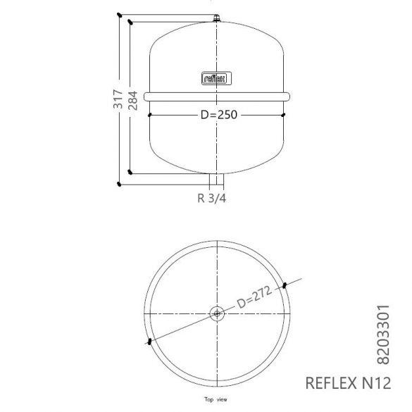 """REFLEX """"N 12"""" típusjelű membrános tágulási tartály, 12 literes, P 4,0 bar, szürke színben (8203301)"""