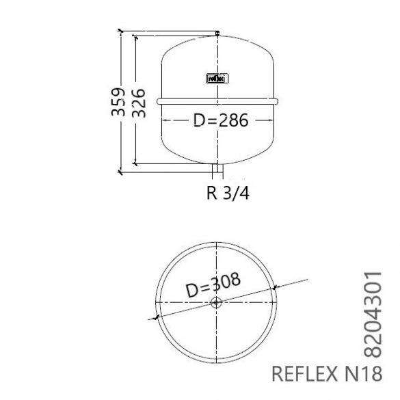 """REFLEX """"N 18"""" típusjelű membrános tágulási tartály, 18 literes, P 4,0 bar, szürke színben (8204301)"""