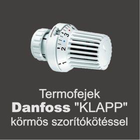 """Termofejek Danfoss """"klapp"""" körmös szorítókötéssel"""